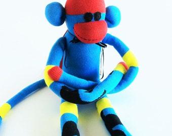Sock Monkey-Dr. Strange-Handmade-Character-Comic-Book-Movie-Monkey-Plush-Red, Blue, Yellow, Black, Red Cape