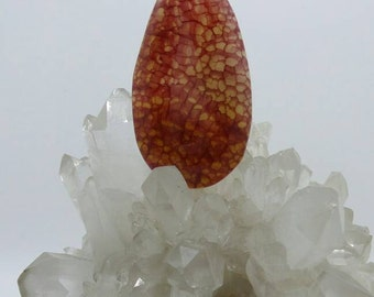 Orange Dragon Veins Agate Pendant.