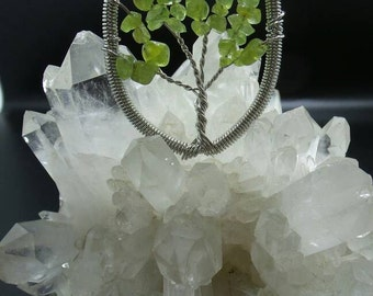 Peridot Tree of Life Wire Wrapped Pendant.