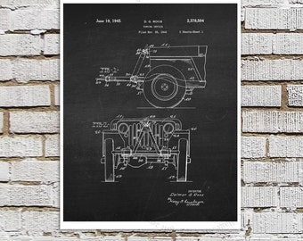 Willys Jeep Patent Print # 6, one single unframed art print, Antique Jeep military vehicle parts patent, Jeep Gift idea, Jeep Wall Decor