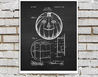 Jack-o-Lantern Chalkboard print #2, Halloween Party Decor Wall Art Print, Black and White Wall Art Halloween Decoration