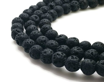 8mm Natural Lava Beads Black Round 8mm Lava 8mm Black Lava 8mm Black Beads 8mm Volcanic Rock Volcanic