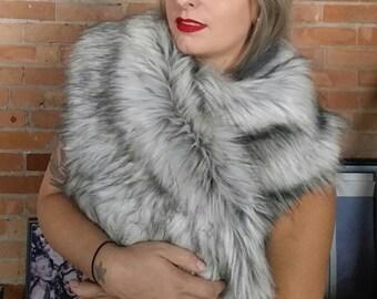 Faux fur scarf shawl wrap. Faux silver wolf fur. Rockabilly cover up, wedding bridesmaids shawl.