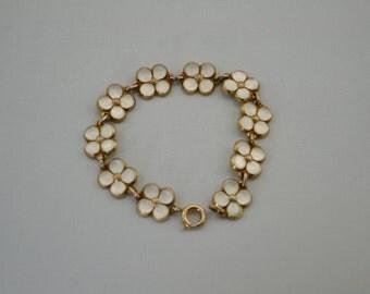 Vintage David Andersen Norway Sterling Silver-Giltand Enamel White Daisy Chain Bracelet