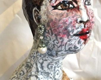Santos Doll- surreal, cage doll, sculpture, steampunk, rustic