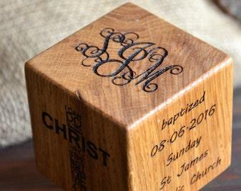 Baptism gift Christening Wooden Engraved Cube Custom Communion gift Dedication Keepsake gift for Godson Goddaughter Gift from Godparents