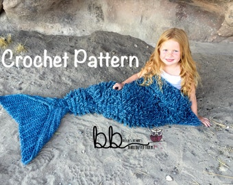 Mermaid Tail Blanket with Loops - PATTERN ONLY - Crochet - Size: Toddler, Child & Adult