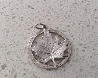 Vintage Sterling Silver Maple Leaf Canada Charm