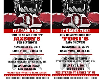 Printable Ohio State Football Birthday Party Invitation NCAA Ticket Invitation Baby Shower Invitations