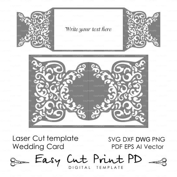 Wedding invitation pattern card template shutters gates doors for Free laser cutter templates
