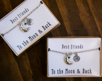 Best Friend Necklaces, To the Moon and Back, Silver Moon Necklace, Initial Necklace, BFF Gift, Set of 2 necklaces, Friendship Necklaces