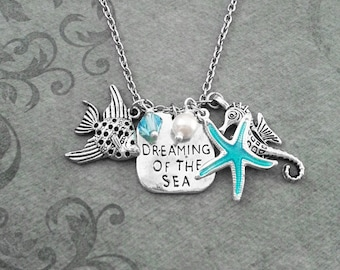 Dreaming of the Sea Necklace SMALL Blue Starfish Necklace Beach Necklace Pearl Necklace Seahorse Necklace Fish Jewelry Ocean Necklace