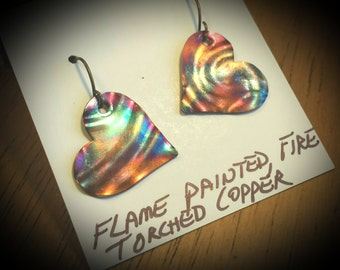 Flamed Torched Metal, Torched Copper, Flame Painted Earrings, Torched Metal, Torched Jewelry, Colorful Jewelry, Heart Jewelry, Beach Jewelry