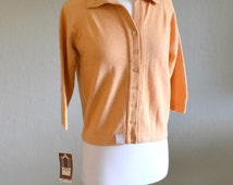 Vintage Cardigan, Koret of California, New with Tags, Pale Orange Wool Blend, Johnny Collar, 3/4 Sleeves, Size S/M, 1960s
