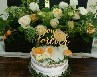 You and Me Forever- Acrylic Cake Topper- Gold Cake Topper- Laser Cut - Wedding Cake- Cake Topper