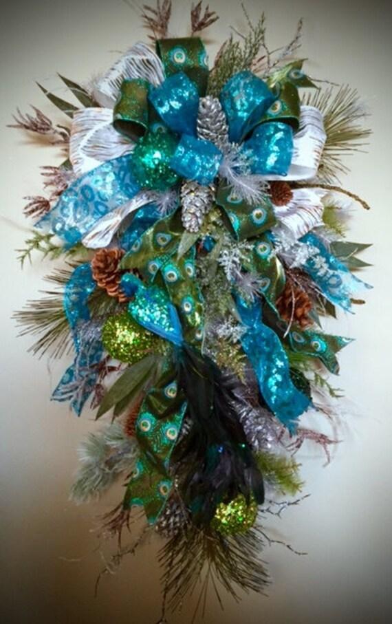 Peacock Winter Swag Peacock Wreath Winter Door Wreath