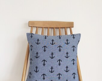 REDUCED! Blue anchor cushion, feather insert included.