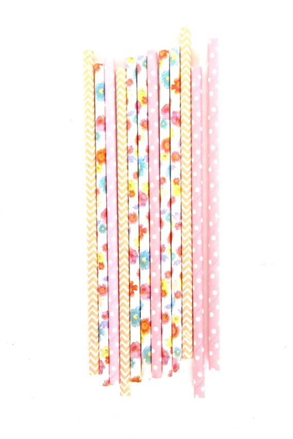 Pink Peach Floral Straw With Gold Flag, Paper Straw, Peach Chevron Straw, Gold Straw Flag, Baby Shower or Wedding Straw, Pink Polka