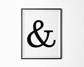 Ampersand, Printable poster, Four sizes, Typography, Printable art, Scandinavian poster, Modern art, Minimal art, Typography poster