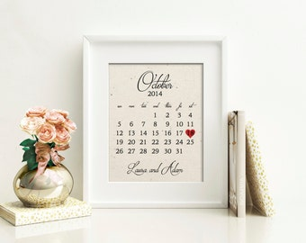 Wedding Calendar | Cotton Wedding Anniversary Gift | 2 Year, 2nd Anniversary Gift | ANY Anniversary Gift | 2nd Anniversary Husband Wife
