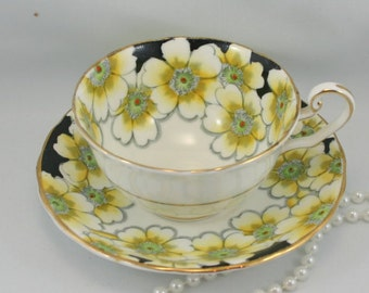 Annette, Victoria Teacup & Saucer, Lovely Floral Pattern, Gold Rims, Bone China made in England in 1950s.