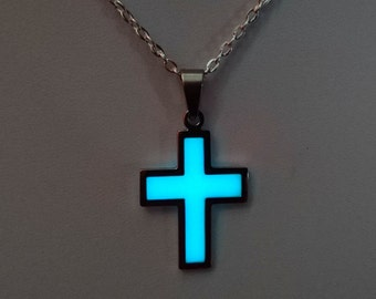 Cross Pendant Necklace - Glowing Cross Jewelry - Religious Jewelry - Glow in the Dark Pendant - Glowing Charm - Confirmation Gifts