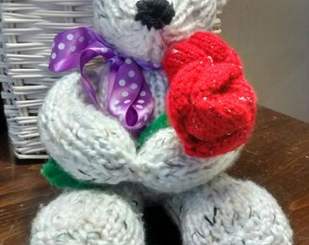 Knitted Teddy Bear With Roses Birthday Anniversary, Variety Of Colors, Cuddly, Soft