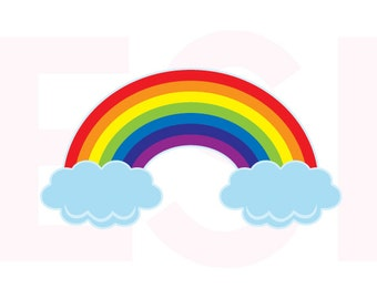 Rainbow svg, with clouds, SVG, DXF, EPS, cutting files for use in Silhouette Studio and Cricut Design Space. Baby svg files, svg designs,