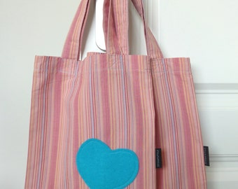 Giftbag red pink blue stripes - 11,42 inch x 9,65 inch - cotton - gift holiday birthday sustainable gift wrapping shopping bag unique
