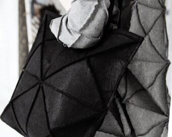 Geometric felt bag/ avant garde black bag/ giant bag