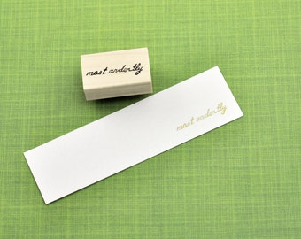 Most Ardently Stamp, Jane Austen Quote, Book Lover Stamp, Hand Carved Rubber Stamp