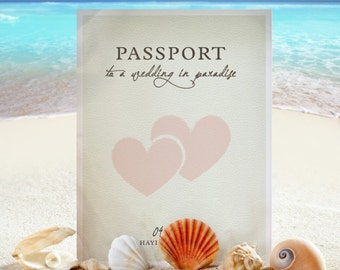 50 Shabby Chic Beach Hearts Leather look Wedding Passport Photo Invitations Invites!