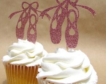 Ballerina slippers cupcake topper, ballet slippers, ballet recital