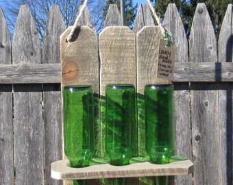 BirdFeeder, Reclaimed Wood Birdfeeder, Reclaimed Bottle Bird Feeder, Repurposed Pallet Wood Bird Feeder, Upcycled Bird Feeder,