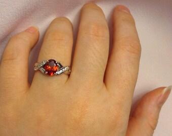 Garnet Ring | Garnet Band | Silver Garnet Ring | Size 5 6 7 | Vintage Garnet Ring
