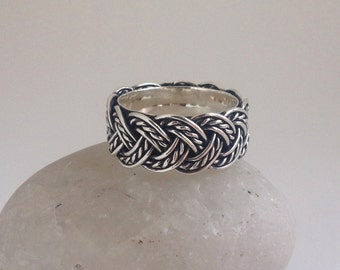 Argentium silver wide band ring. Braided ring