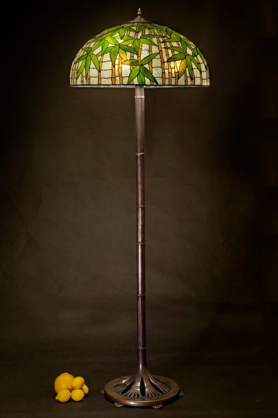 Tiffany floor lamp Bamboo. Big floor stained glass lamp. Classic Tiffany style floor lamp with decorative base.