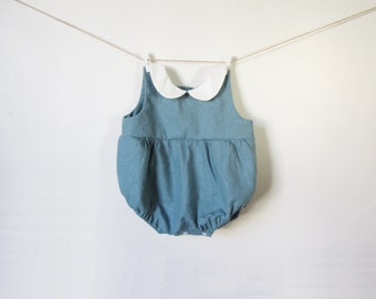 Baby Romper for Boys and Girls with Peter Pan Collar, Teal Blue Baby Outfit, Baby Boy, Baby Girl, Bubble Romper, 1st Birthday, Baby Shower