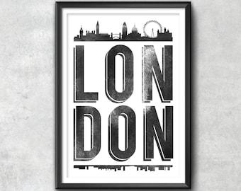 LONDON Typography Print, London Print, London Poster, London Gift, London Art, London Pride, London City, London Decor, London Town, Love