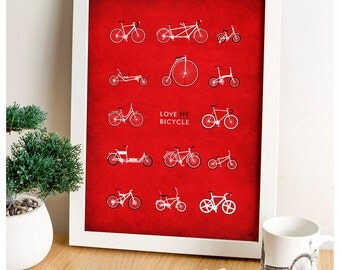 Bicycle Art, Bike Varieties, Cycling Illustration, Bicycle Wall Art, Bike Art Print