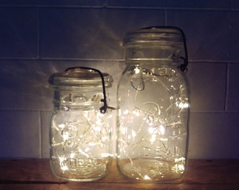 Indoor/Outdoor Vintage Mason Jar Fairy String Firefly Lights; Battery Operated String Fairy Lights; Country Rustic Wedding Decor Centerpiece