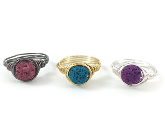 Lava Diffuser Ring, Essential Oil Diffuser Wire Wrapped Ring, Stone ring, Gemstone ring, Teal, Purple, Red, Gold, Gunmetal, Silver