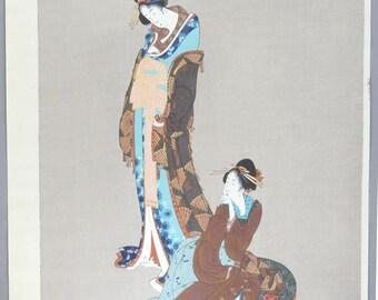 "Large size, Japanese Ukiyoe, Woodblock print, Katsushika Hokusai, ""Beauties"""
