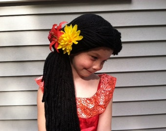 Princess wig, Yarn wig, Costume wig, Princess costume, Elena wig, Kids wig, Halloween wig, Black wig, Ponytail wig, Kids costume ideas