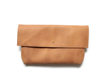 raw leather clutch, camel brown envelope clutch, distressed leather bag, leather purse