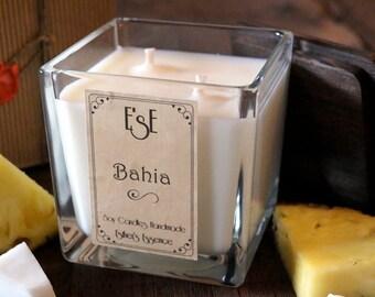 Bougie de soja, noix de coco, «Bahia», parfum exotique, idée cadeau, des bonbons fruités et doux, boîtes, Home Decor, fruit d'ananas, de mariage,