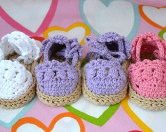 Baby crochet baby crochet, espadrilles to shoes baby booties. babyshower, newborn gift ideas, spring summer shoes READY TO SHIP