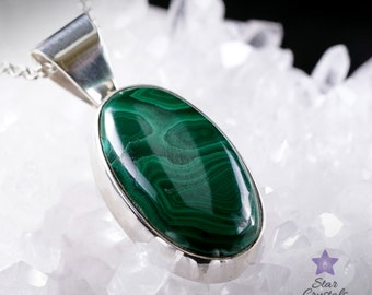 MALACHITE PENDANT in Sterling Silver - with Free Silver Chain
