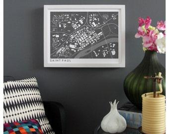 ST PAUL MINNESOTA Map Print - graphic drawing art poster