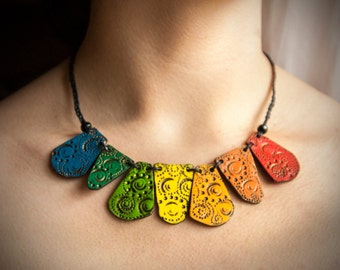 Ethnic rainbow necklace with polymer clay